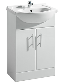 Lauren Delaware Gloss White Vanity Unit And Basin 650mm - VTY650