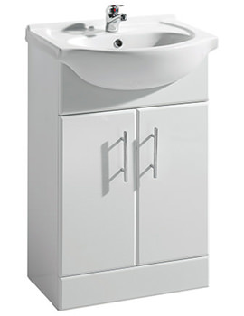 Beo Gloss White Freestanding 550mm Vanity Unit And Basin