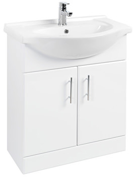 Beo High Gloss White Vanity Unit With Ceramic Basin W650 x D300mm