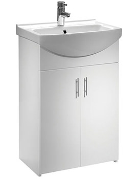 Bathroom Cabinets 500mm Wide tavistock opal 500mm white floorstanding unit and basin | opvu50w