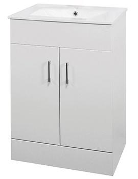 Lauren Mid Edge 600mm Floor Standing Basin And Cabinet White
