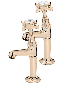Imperial Gold Pair Of High Neck Pillar Taps - 1099