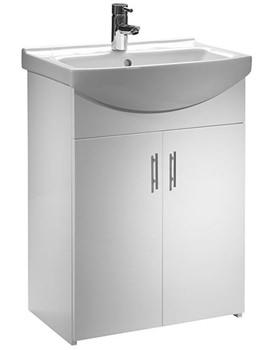 Tavistock Opal 600mm White Floorstanding Unit And Basin - OPVU60W