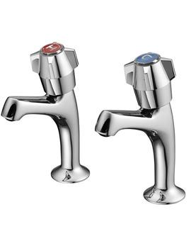 Nimbus Chrome High Neck Sink Pillar Taps- S7220AA