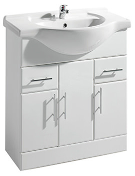 Gloss White Freestanding 750mm Vanity Unit And Basin