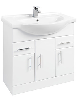 Beo High Gloss White Vanity Unit With Ceramic Basin W750 x D330mm