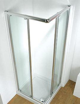 800mm Silver Corner Slider Shower Door With Tray And Waste