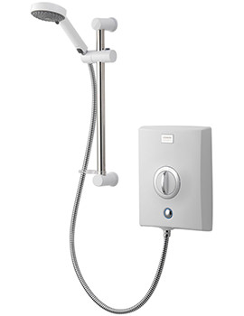 Quartz 9.5kw Electric Shower White And Chrome QZE9521