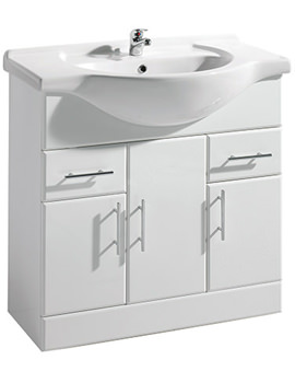 Gloss White Freestanding 850mm Vanity Unit And Basin