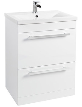 600mm Floor Standing Vanity Unit And Basin White