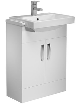 Courier 600mm Semi Countertop Vanity Unit - Gloss White