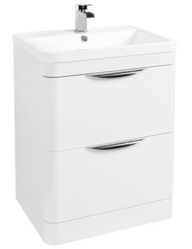 600mm Floor Standing 2 Drawer Vanity Unit And Basin White