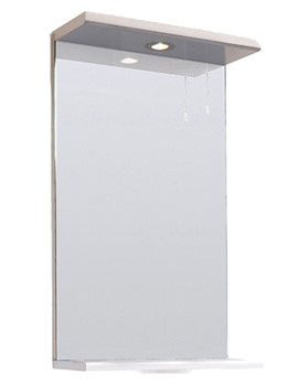 Lauren Mayford Gloss White 450mm Mirror With Lighting Canopy