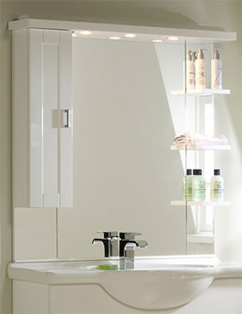 New England 1000mm White Mirror-Canopy-Shelves-Cupboard