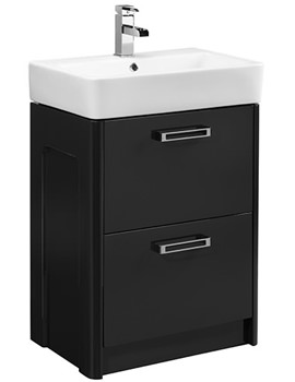 Q60 575mm Graphite Freestanding Unit And Ceramic Basin