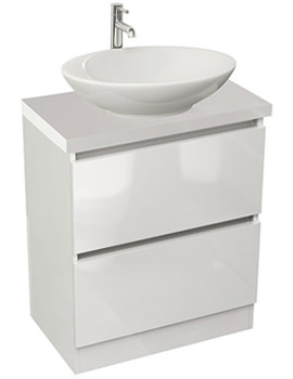 Echo 600mm White Gloss Double Drawer Floor Standing Unit And Worktop
