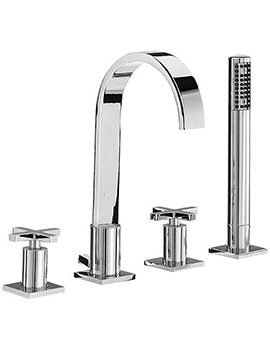 Surf 4 Tap Hole Bath Shower Mixer Tap With Shower Kit - RDX049