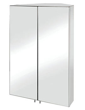 Avisio Stainless Steel Double Door Corner Mirror Cabinet