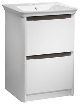 Equate 600mm White-Grey Oak Freestanding Unit And Basin