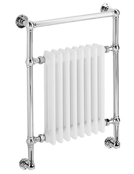 DQ Heating Lynford Wall Mounted Chrome Heated Towel Rail 846 x 798mm