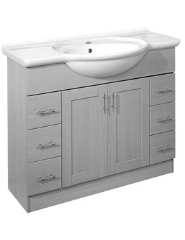 New England 1000mm White Freestanding Unit Excluding Basin