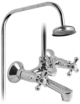 Victoriana Bath Shower Mixer Tap With Rigid Riser - VIC-121-R