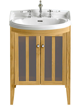 Hidcote Bowfront Oak Medium Vanity Unit - FHOA20