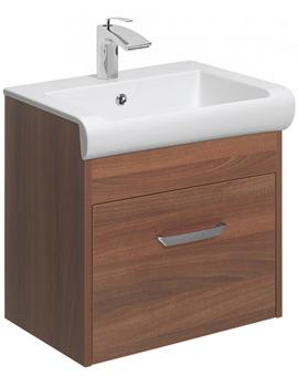 Essence 500mm Wall Hung Walnut Vanity Unit And Basin