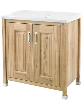 Old London Natural Walnut 800mm Vanity Unit And Inset Basin - NLV505