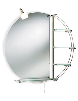 Dana 800mm Round Mirror With Light And Shelves