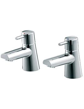 Cone 3-4 Inch Pair Of Bath Pillar Tap Chrome