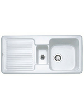 Franke V And B VBK 651 White Ceramic 1.5 Bowl Kitchen Inset Sink