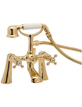 Tudor Pillar Mounted Bath Shower Mixer Tap Gold - TUD03-501