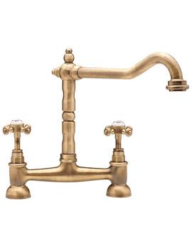 Tre Mercati French Classic Antique Brass Bridge Sink Mixer Tap - 187