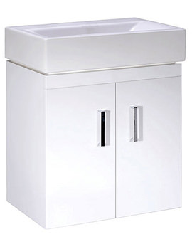Lauren Checkers 450mm White Wall Mounted Cabinet And Basin