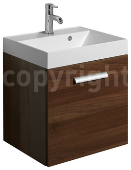Bauhaus Design 500mm Single Door Wall Hung Basin Unit Walnut