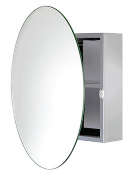 Severn Stainless Steel Circular Door Mirror Cabinet