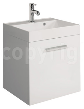 Bauhaus Design 500mm Single Door Wall Hung Basin Unit White