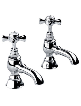 Edwardian 3-4 Inch Bath Pillar Taps Pair Chrome - XG61700100N