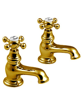 Imperial Westminster Antique Gold Finish Bath Pillar Taps