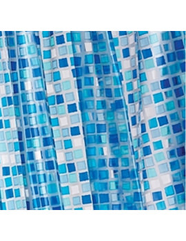 Croydex Blue Mosaic PVC Shower Curtain AE543424