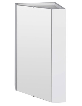 Lauren Wall Mounted Corner Mirror Cabinet White - NVC118