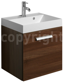 Design Plus 500mm Single Drawer Wall Hung Basin Unit Walnut