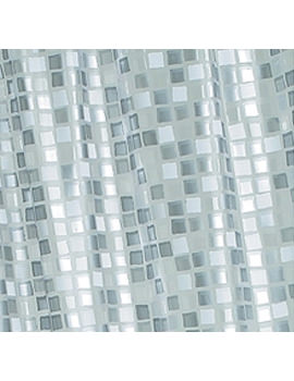 Silver Mosaic PVC Shower Curtain - AE543440