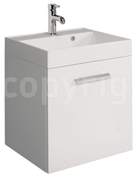Design Plus 500mm Single Drawer Wall Hung Basin Unit White Gloss