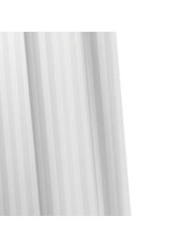 Croydex White Woven Stripe Textile Shower Curtain - AF286122