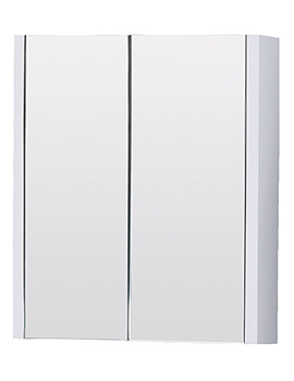 Lauren White Minimalist 600mm Mirror Cabinet With Two Door