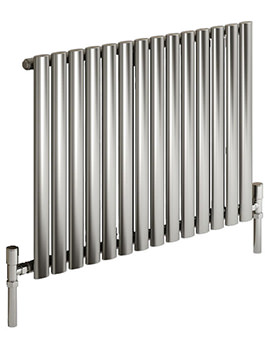 Reina Nerox Single Brushed Horizontal Radiator 590mm Wide x 600mm High