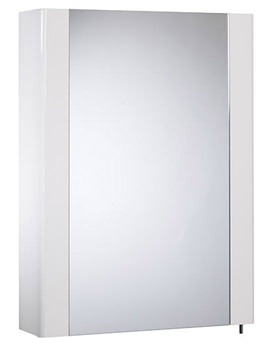 Detail 475mm White Gloss Single Mirror Door Cabinet - DE47W