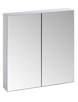 Observe White Finish Double Mirror Door Cabinet - OB60W